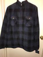 CROFT & BARROW Men's Plaid Zip-Up Arctic Fleece Jacket BLUE/BLACK Size XXL NWT