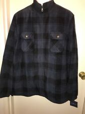 CROFT & BARROW Men's Plaid Zip-Up Arctic Fleece Jacket BLUE/BLACK Size XXL NWT