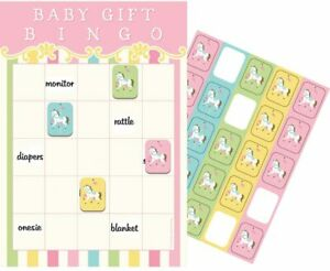 Carousel Horse Animal Pastel Pink Cute Baby Shower Party Activity Bingo Game