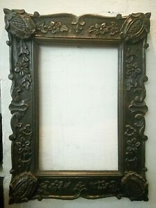 Vintage UNIQUE Hand Carved Solid Wooden Colorful Unique Photo Mirror OLD Frame