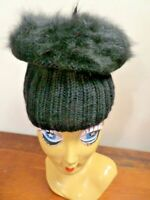 Vintage 1960 Black Knit Mohair? Furry Tall Winter Beanie Hat Bohemian Tiered Cap