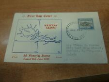 Western Samoa 1949 FDC Cachet, Map to USA (100bed)