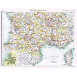 FRANCE (South) Antique Map 1902 by Bartholomew; Insets of Marseilles and Corsica