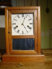 Antique Restored Rare 30 Hr. Time & Strike Walnut Cottage Clock Working Well