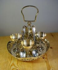Silver Plate Four Egg Cups & Spoons on Tray Set