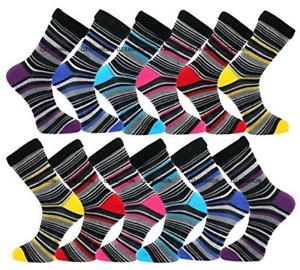 6 Pk Mens Luxury Stripe Cotton Rich Sock Easy fit, soft cotton uk Saize 6-11