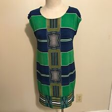 Laundry by Shelli Segal Los Angeles Green Blue Stretch Dress Small sleeveless