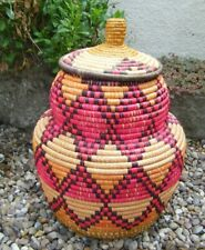 Vintage Woven Raffia/ Seagrass Boho Tiki Lidded Bright Coloured Storage Basket