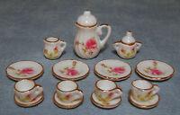 1:12 Scale 15 Piece Rose Ceramic Coffee Set Dolls House Miniature Accessory 1722