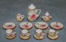 1:12 scala 15 pezzi rose ceramica Caffè Set DOLLS HOUSE miniatura Accessorio 1722