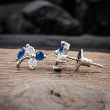 Women Stud Earrings Blue Sapphire Flower With Leaf Shaped Silver Plated Jewelry