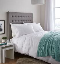 Catherine Lansfield Classic Lace Bands Embellished Duvet Cover Bedding Set White Double