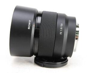 Sony FE 50mm F1.8 E Full Frame AF Prime Lens + Front  Cap + Sony Hood EXC