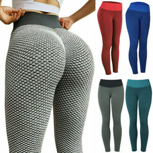 Women High Waist TikTok Leggings Ruched Anti-Cellulite Yoga Pants Gym Fitness