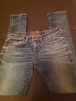 Buckle Black Womens Jeans 25x32, waist measures 28 Skinny Fit 53 bke