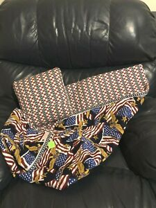 Handmade Patriotic Blanket with Pillow NEW