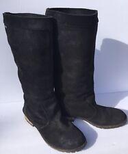DIESEL Prairie Black Distressed Leather Suede Knee High Boots sz: US 7.5