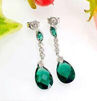 9 CT White Gold Green Emerald & Diamond Pear Drop Earrings
