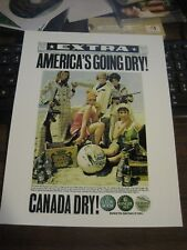 """1968 Canada Dry """"Extra America's going Dry"""" Advertising Reprint 8.5 X 11 Glossy"""