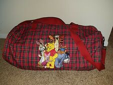 "Winnie the Pooh Red Plaid Disney Store Duffel Bag School Bag Diaper Bag 20"" RARE"