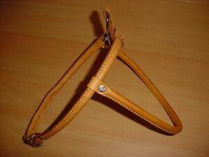 Hundegeschirr a.echtem Leder, rundgen., 75cm, beige