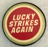 Vintage LUCKY STRIKES AGAIN Pinback Button Cigarettes Advertising Tobacco Pin