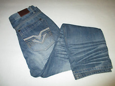 "RS Blue Jeans Mens Tag Size 34"" X 31"" Crinkled Embroidered Pockets Straight Leg"