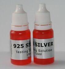 2 x 10ml 925 SILVER Tester Spot On Testing Solution Test Kit Fluid Fast Free
