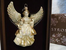 Jeweled Angel Gold Jay Strongwater Glass Ornament with Swarovski Crystals NEW