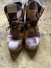 Vintage RARE Timberland hiking boots leather size 10 M patchwork logo style
