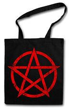 RED PENTAGRAM COTTON BAG - Jutebeutel Stoffbeutel - Pentagramm Pentacle Satan