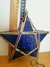 Moroccan Style Lantern blue  star Glass Home Garden Decoration Tea Light