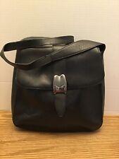 """Bally Designer Black Leather Bag, Understated Shoulder Bag, 10""""x10"""" Excellent"""