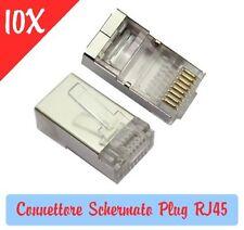 10X Pezzi Connettore Schermato Plug RJ45 per Cavi di rete LAN Ethernet