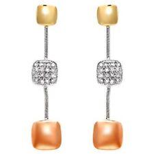 Diamond Earrings 3-Tone Solid Gold