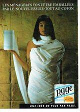 PUBLICITE ADVERTISING 0217  1985  papier essuie-tout Page Plus coton