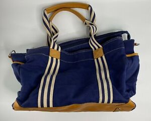 Pottery Barn Kids Classic Diaper Bag Navy White Strap Leather USED