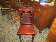 ANTIQUE VICTORIAN CARVED SOLID MAHOGANY HALL CHAIR/BEDROOM CHAIR