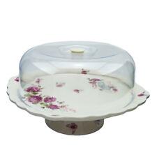 ROSE Kuchenteller rund mit Fuß Kuchenbehälter Servierteller Serviceteller