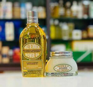 L'Occitane Almond Shower Oil 250ml+ Milk Concentrate 100ml Moisturise *FreePost