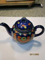 Cobalt Blue tea pot hand painted  Made in Japan mark branded on bottom