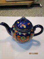 Cobalt Blue tea pot hand painted Made in Japan mark branded on bottom
