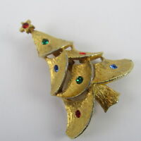 Christmas Tree Brooch Pin Gold Tone Rhinestones Vintage Jewelry