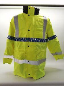 Ex Police Hi Vis Waterproof 3/4 Length Jacket Security Safety Vehicle Emergency