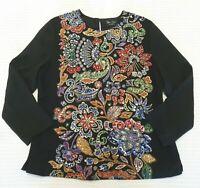 Diane Freis Sz L/XL Paisley Painted Heavily Beaded Sequin Long Sleeve Top Blouse