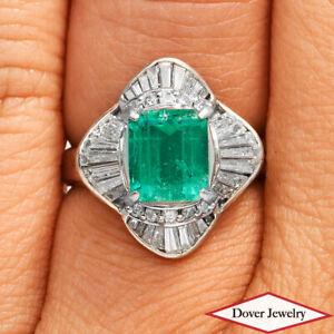 GIA Diamond 2.33ct Emerald Platinum Ballerina Halo Cocktail Ring 7.3 Grams NR