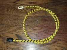 1920s Vintage Car Yellow/Black Cotton Braided Spark Plug Lead & Acorn 710mm
