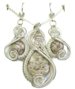 Crinoid Fossil & Swarovski Crystal Wire-Wrapped Earring/Necklace Sterling Silver