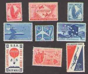 US. C47, C48, C49, C50, C51, C53, C54, C55, C56. Air Stamps  Lot of 9. Mint.
