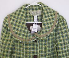 Nick & Mo Tweed Coat Sage Size M Brown Green Collar Flair Lined Heavy New W/Tags